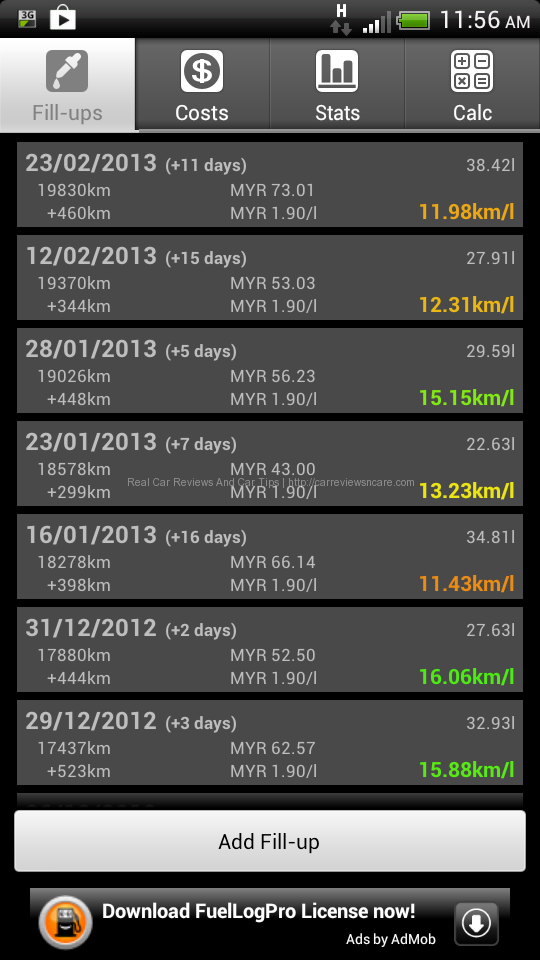 FuelLog for Toyota Vios