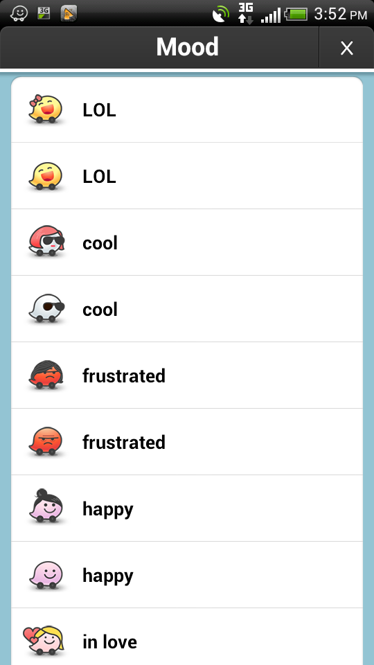 Variety of Waze emotions