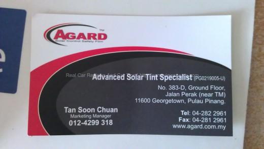 AGARD Advanced Solar Tint Specialist Card