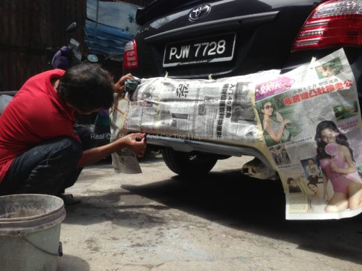 sanding process on car body kit using sandpapers with water 2