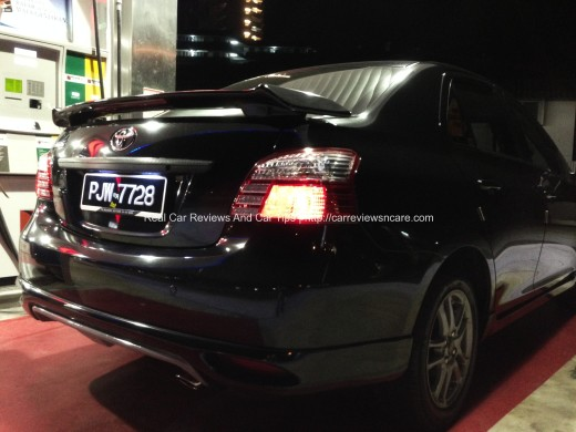 Toyota Vios GT Street Rear View at petrol station