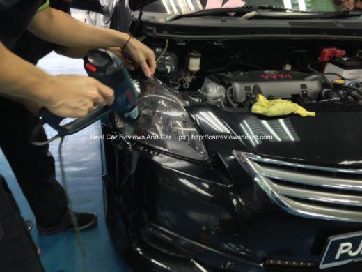 Toyota Vios Headlamp Tint installation 4