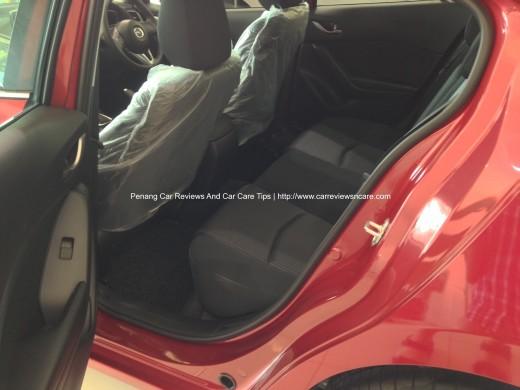 2014 Skyactiv Mazda 3 2.0L Rear Seat