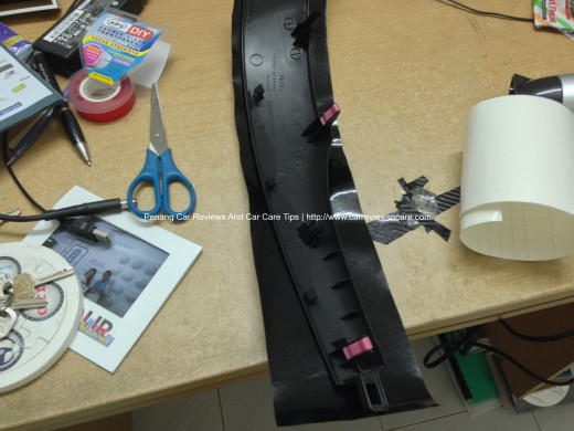 Prepare to wrap Toyota Vios Interior Trim with Carbon Fiber Vinyl