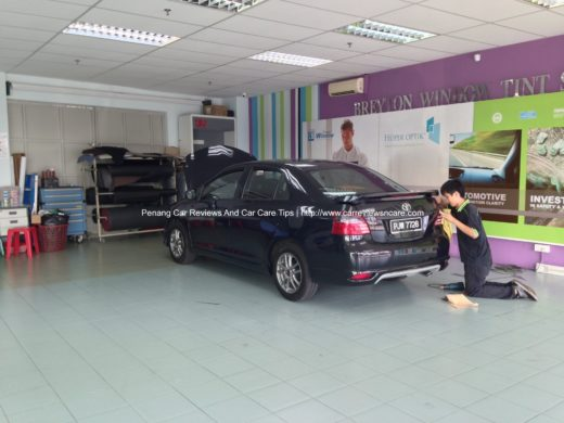tint film installation in Breyton window tint shop on Toyota Vios