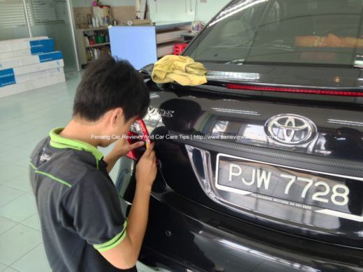 Putting tint film on Toyota Vios tail lamp reverse light compartment
