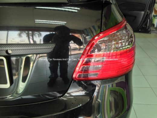 Black tint film on Toyota Vios tail lamp completed