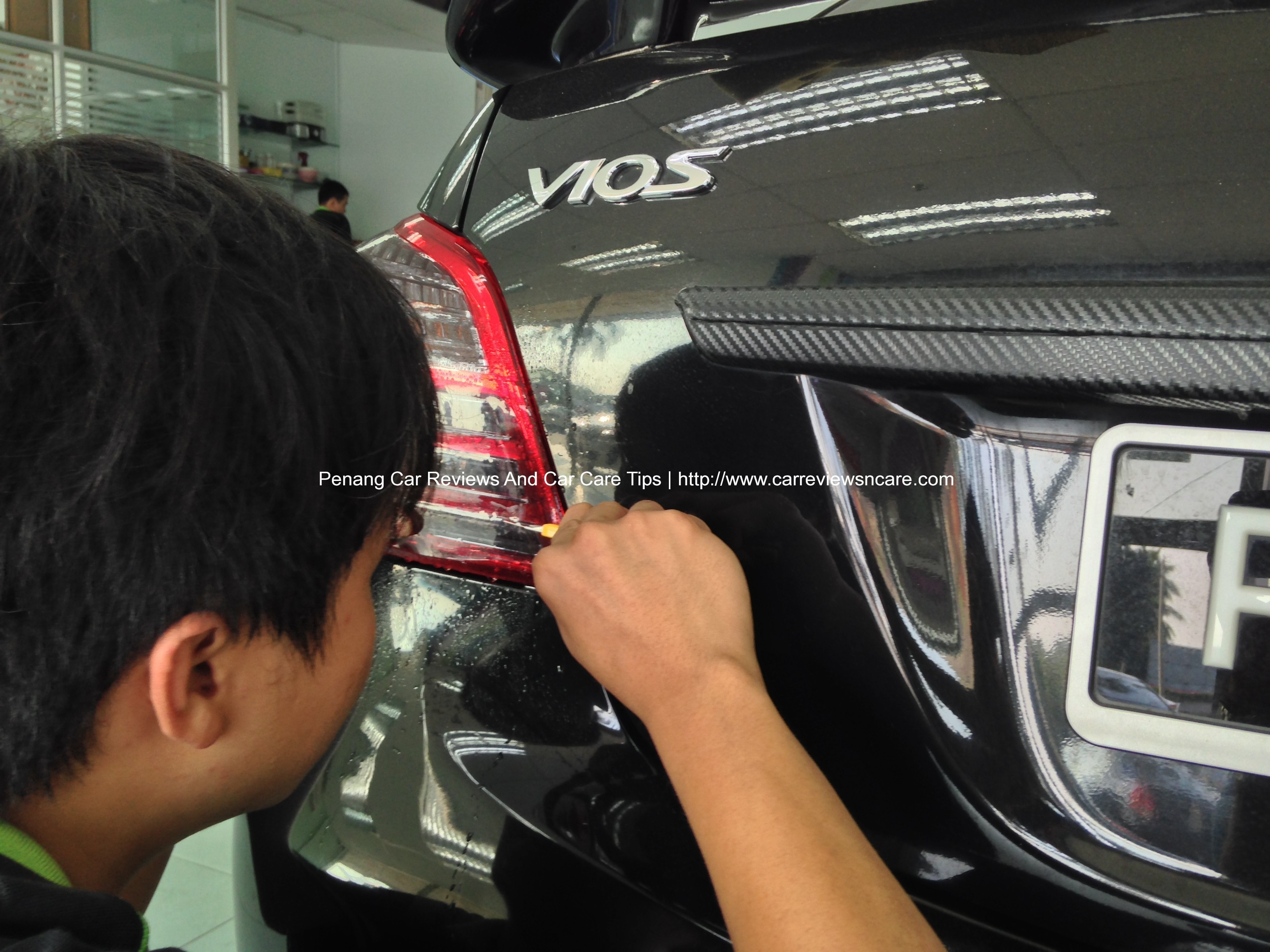 Car sticker design penang - Putting Tint Film On Toyota Vios Tail Lamp Reverse Light Compartment