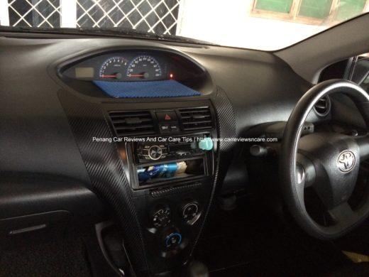 Carbon Fiber Vinyl Passenger view in Toyota Vios 1