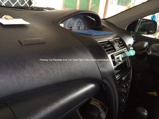 Carbon Fiber Vinyl Passenger view in Toyota Vios