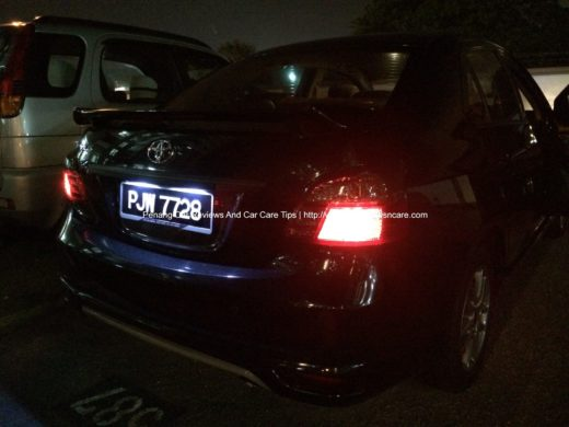 Toyota Vios Rear View on Night Time