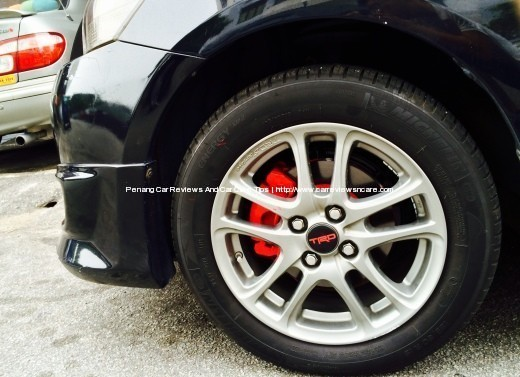 Painted Toyota Vios Front Brake Calipers with TRD Sportivo Rims