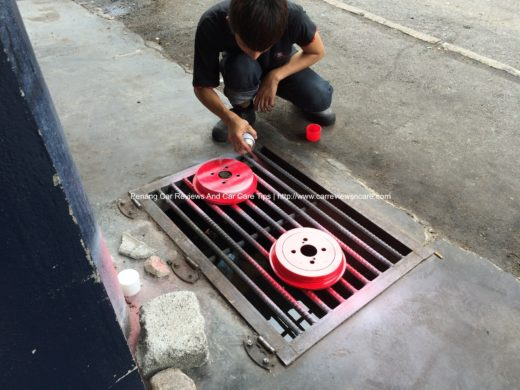 Painting red color on Toyota Vios Drums