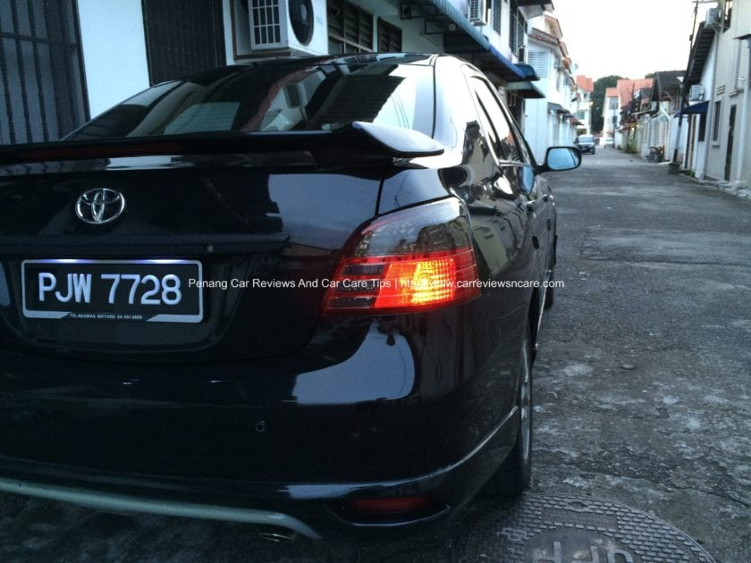 Rear View of Toyota Vios with Tinted Rear Lamp