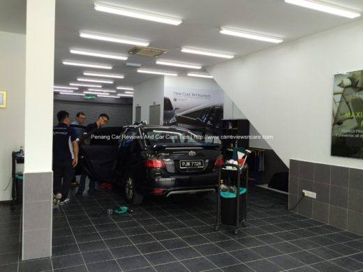 Raytech staffs are installing Raytech Tint Films on Toyota Vios GT Street