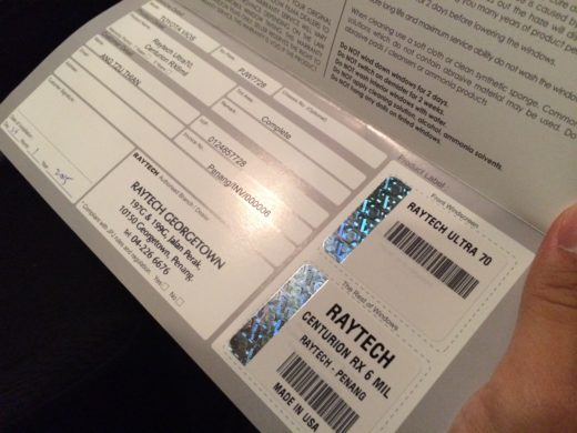 Raytech Warranty Card with hologram for the type of tint films