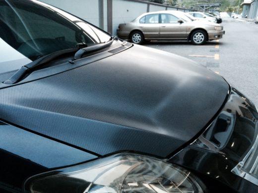carbon fiber vinyl on Toyota Vios GT Street hood