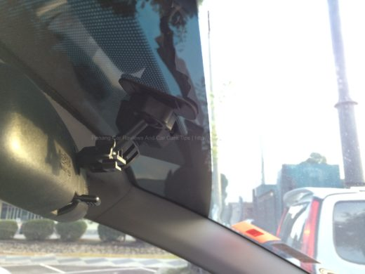 car mounting bracket on the car windscreen