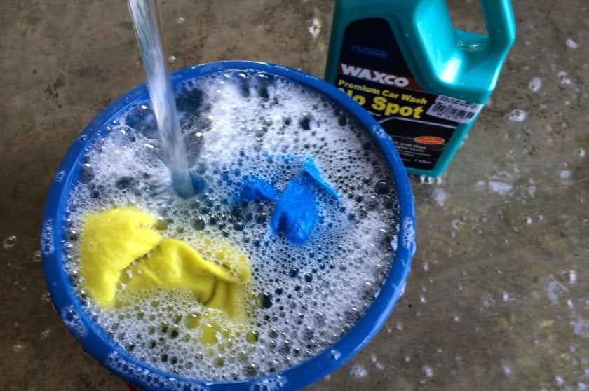Car Shampoo mixed with water in pail