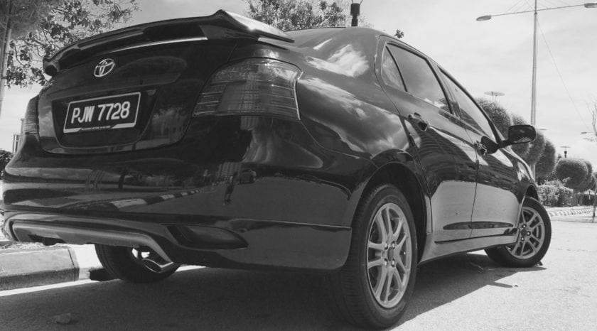 Toyota Vios GT Street back view black and white