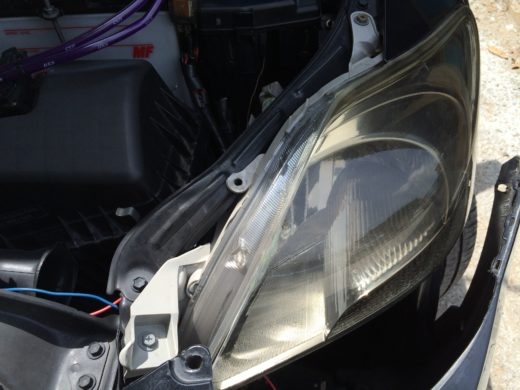 dislocated Toyota Vios headlamp
