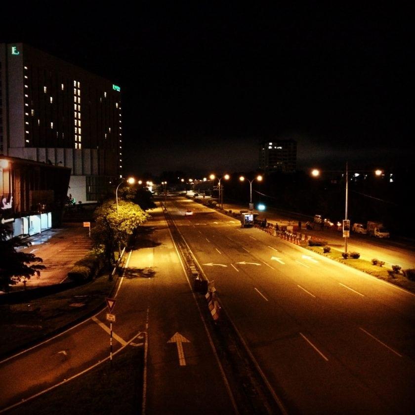 Empty street for marathoner