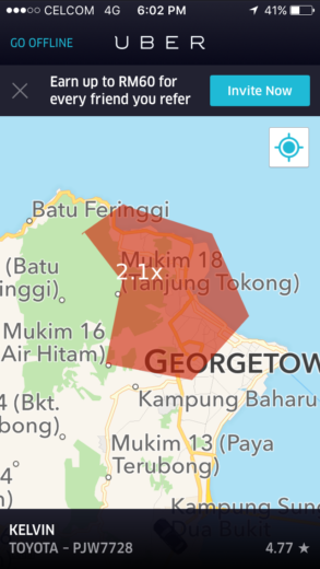 Surge Area in Penang on Uber Partner App