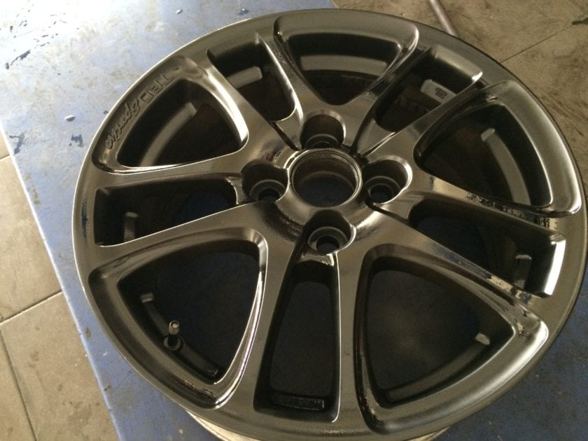 TRD Wheels coated with Black Rubber Paint