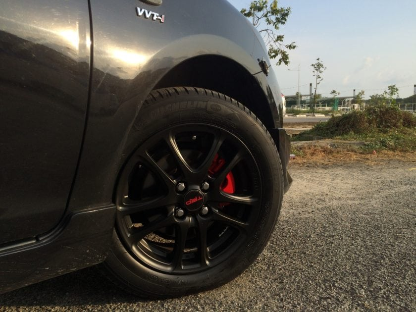 Front Black TRD Wheels with red brake caliper