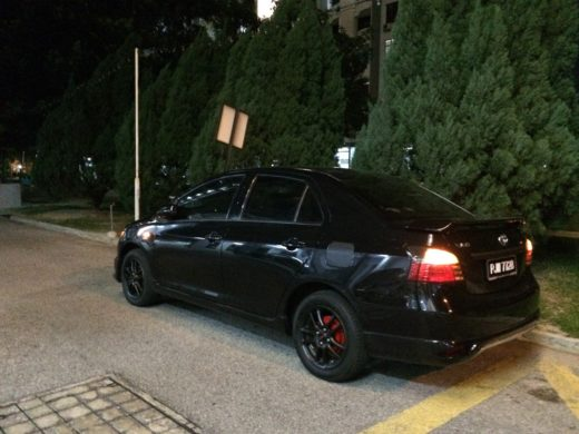 Toyota Vios GT Street with Black TRD Wheels Back View During Night Time