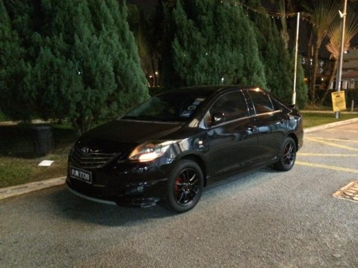 Toyota Vios GT Street with Black TRD Wheels Front View During Night Time