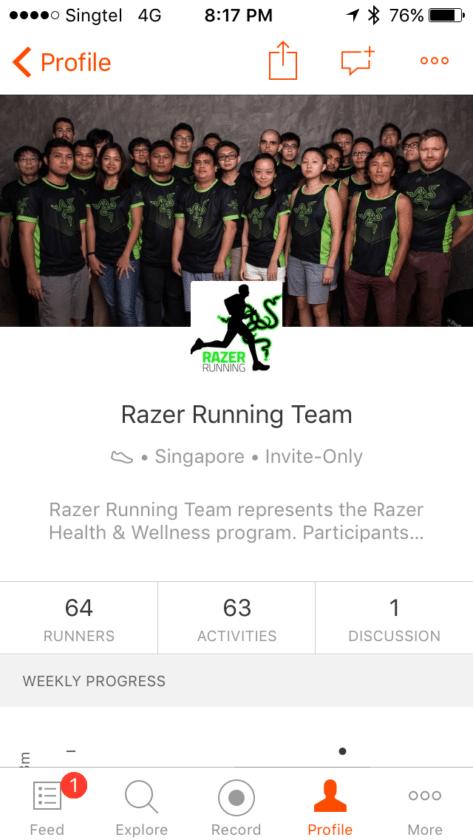 Razer Running Team in Strava