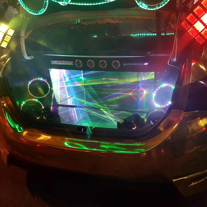 Sound system under the boot of Gold Toyota Altis