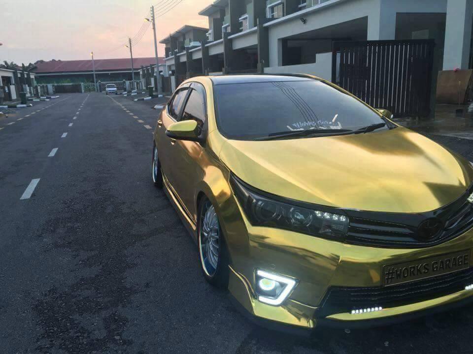 Gold Toyota Altis Modified