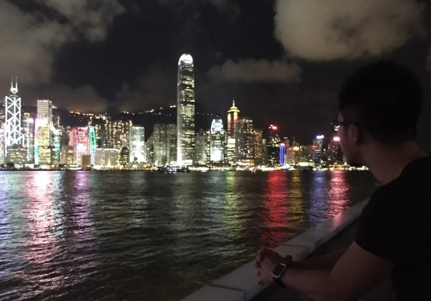 checking out the iconic view in Habour City in Hong Kong