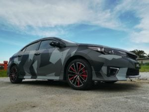 Toyota Altis camo wrapping