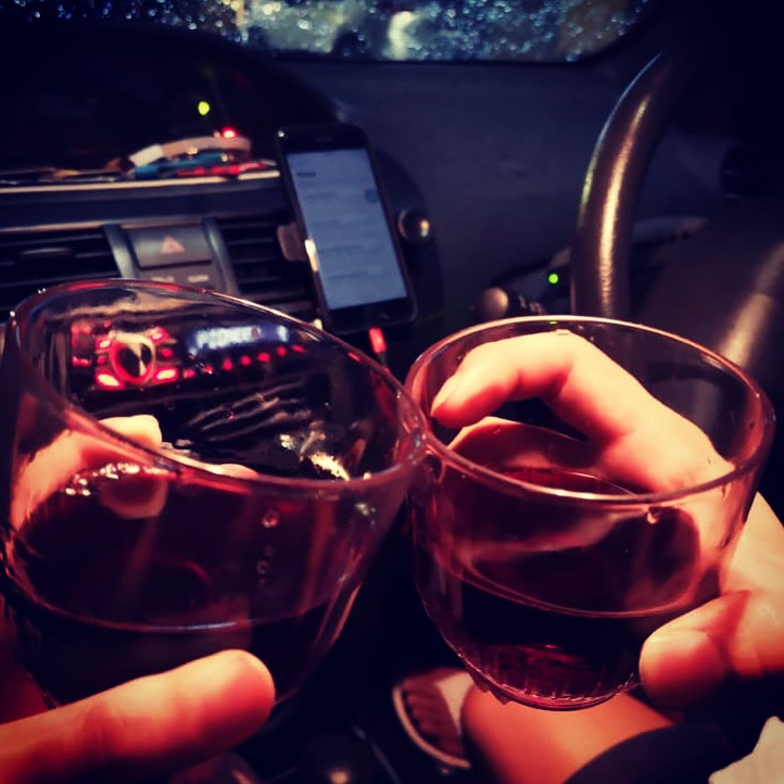 Celebrating Christmas with wine and some Jazz songs in car