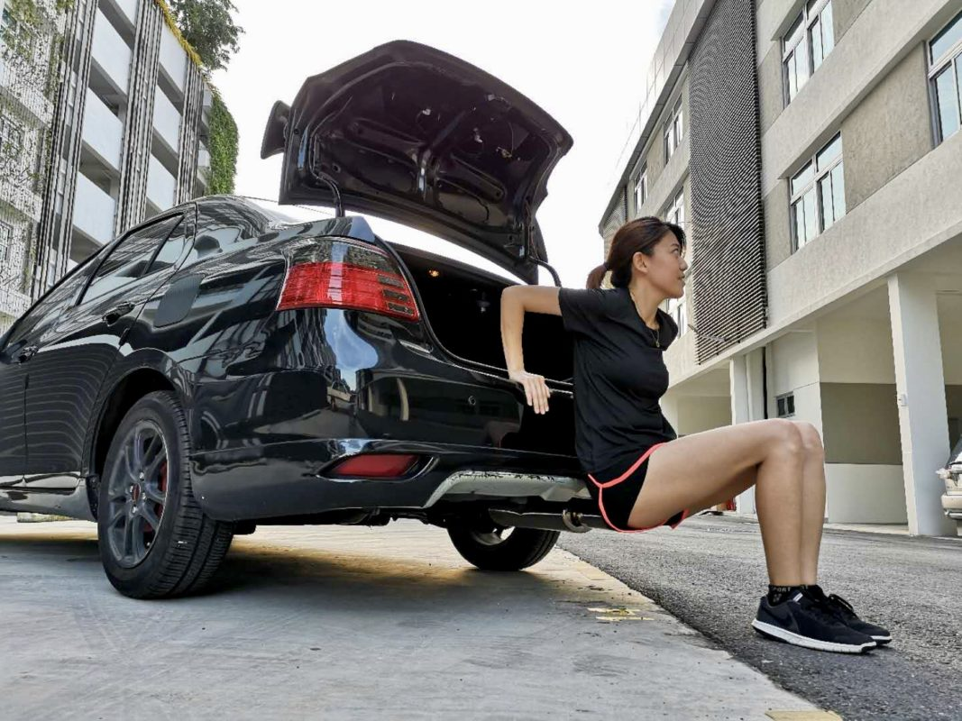 Tricep workout using your car boot